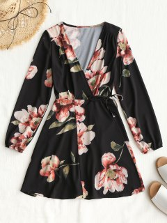 Long Sleeve Wrap Floral Mini Dress - Black L