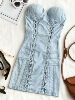 Jean Lattice Tube Mini Dress - Denim Blue M