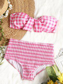 Plaid Bandeau Bikini Top With High Waisted Smocked Briefs - Pink And White Xl