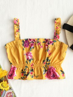 Cropped Floral Ruffle Tank Top - Yellow S