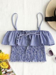Shirred Gingham Ruffles Tank Top - Blue L