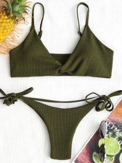 Twist Ribbed Bikini Set - Army Green L