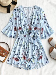 Ruffles Tied Bell Sleeve Romper - Light Blue L