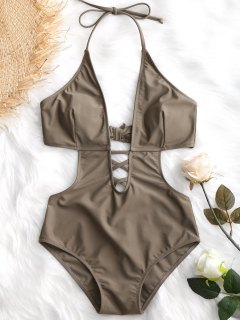 Low Cut Lattice Front One Piece Monokini - Dark Khaki S