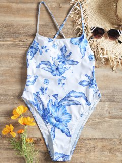 Cross Back Floral High Cut One Piece Swimsuit - White S