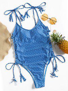 Plaid Lace-up High Cut Swimsuit - Blue L