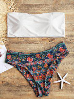 Bandeau Top With High Cut Floral Plus Size Bikini - White 3xl