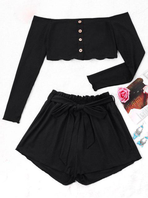 women's Ribbed Crop Top and Wide Leg Shorts - BLACK S Mobile
