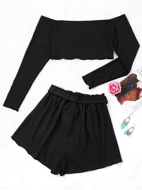 lady Ribbed Crop Top and Wide Leg Shorts - BLACK L Mobile