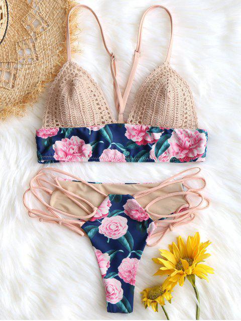 Soutien-gorge de bain avec empiècements en crochet et bas à lacets - Floral S Mobile