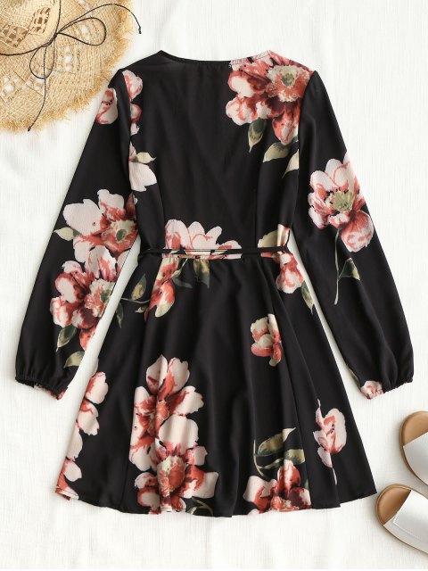 Mini Robe Florale Portefeuille à Manches Longues - Noir M Mobile