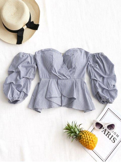 trendy Ruffles Stripes Off Shoulder Blouse - BLUE L Mobile
