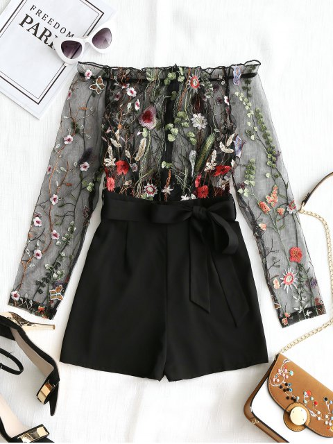See Through Embroidered Off Shoulder Romper - Negro L Mobile