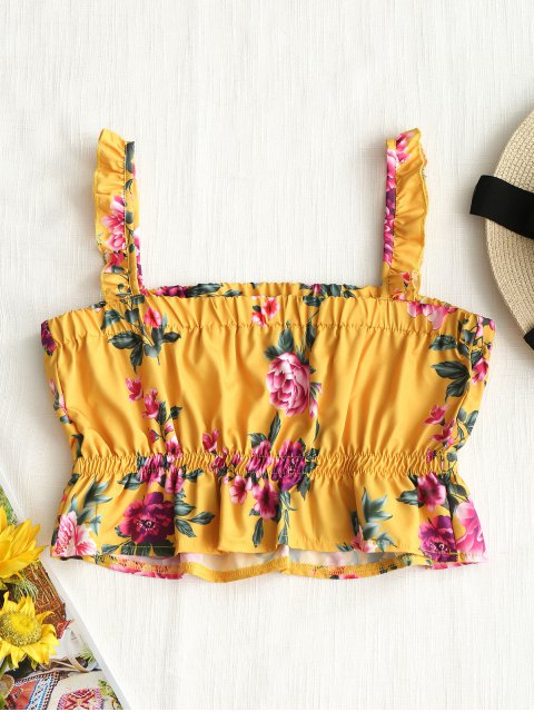 buy Cropped Floral Ruffle Tank Top - YELLOW XL Mobile