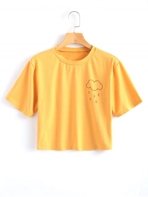 best Rainy Print Cropped Top - YELLOW S Mobile