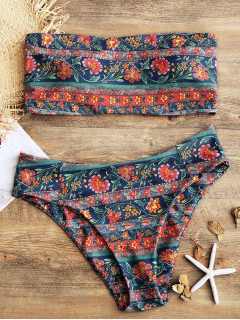 buy Bandeau Floral High Cut Plus Size Bikini Set - FLORAL 3XL Mobile