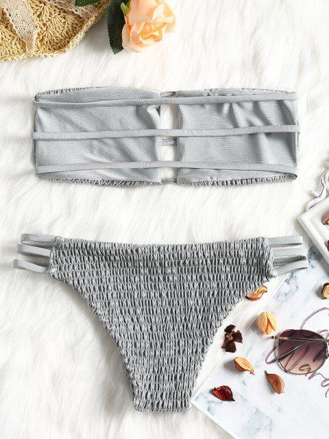 buy Bandeau Smocked Bikini Bra with Bottoms - GRAY L Mobile