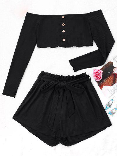 Ribbed Crop Top And Wide Leg Shorts - Black L
