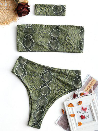 Bandeau Snakeskin High Cut Choker Bikini - Green M