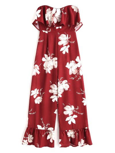Floral Ruffle Strapless Jumpsuit - Deep Red L