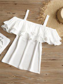 237;os Vuelo Blanco De Con L Plisada Blusa Hombros Fr RPWYHqRwB