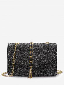 بريق سلسلة رفرف حقيبة كروسبودي - أسود