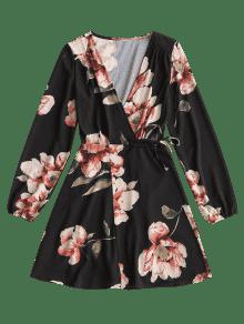 Negro De Manga Floral Larga M Vestido Mini SqCBwX7w