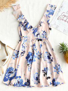 فستان قصير عطفه مزهر الكشكشة البسيطة - وردي فاتح M