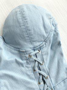 Jean Tube Denim Blue Dress Mini Lattice L grTnSqg
