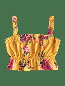 Sin Mangas Con Amarillo Volantes M Florales Camiseta A5qdwA