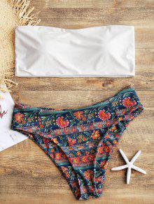 Bandeau Top Con Bikini De Talle Alto Y Corte Floral - Blanco 3xl