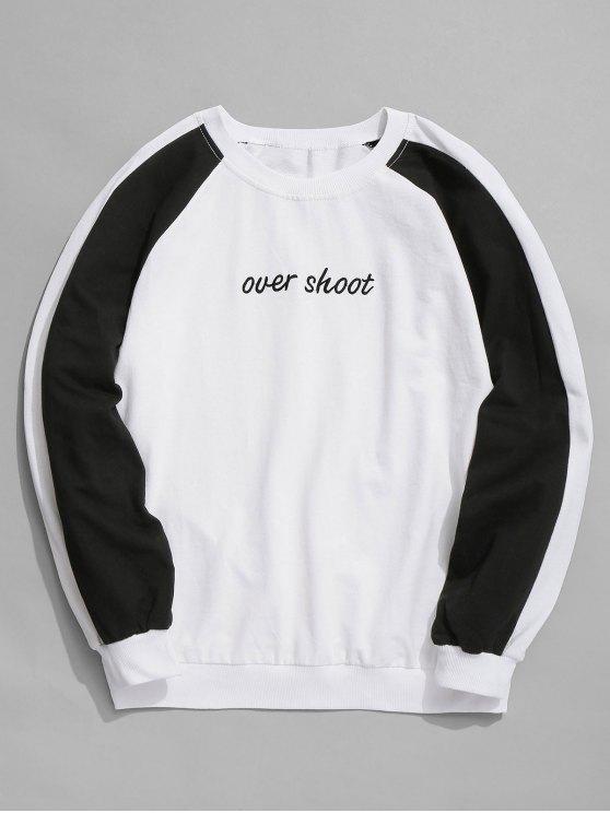 Sweat-shirt Contrastant à Manches Raglan - Blanc XL