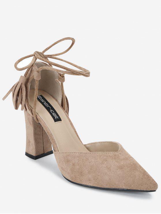 Sandalias de la correa del tobillo de punta estrecha - Caqui 36