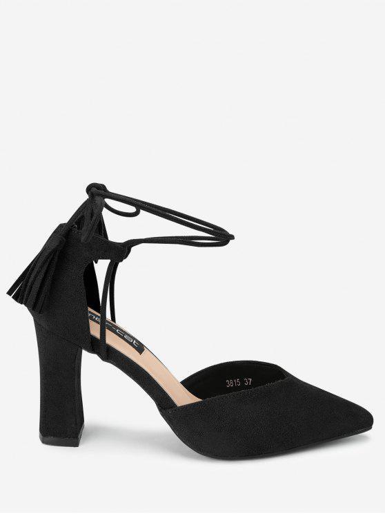Sandalias de la correa del tobillo de punta estrecha - Negro 35
