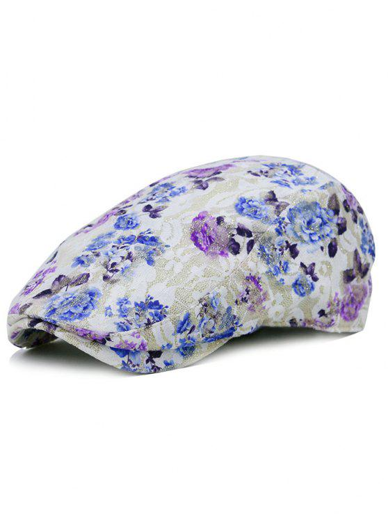 chic Floral Pattern Lace Crochet Newsboy Cap - BLUE