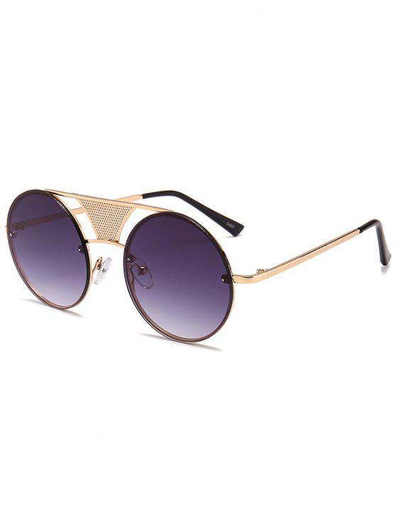 Hollow Out Metal Bar Round Óculos de sol - Moldura Dourada + Lente Cinza