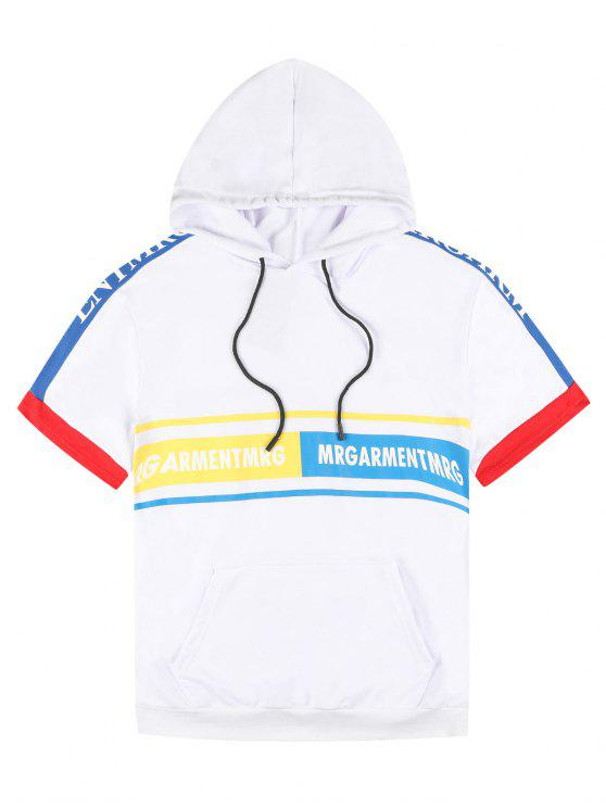 shops Graphic Pouch Pocket Short Sleeve Hoodie - WHITE L