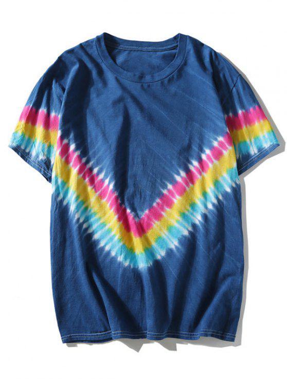 Riemchen Färbung Chevron T-Stück - Blau 2XL