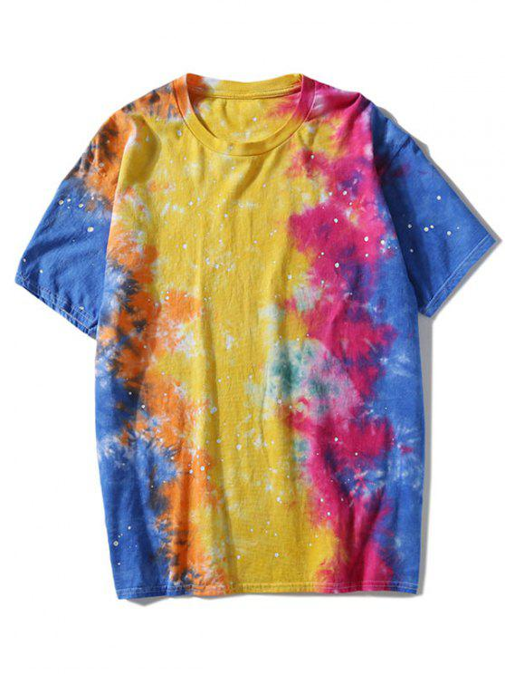 women Short Sleeve Colorful Tie Dyed T-shirt - COLORMIX 3XL