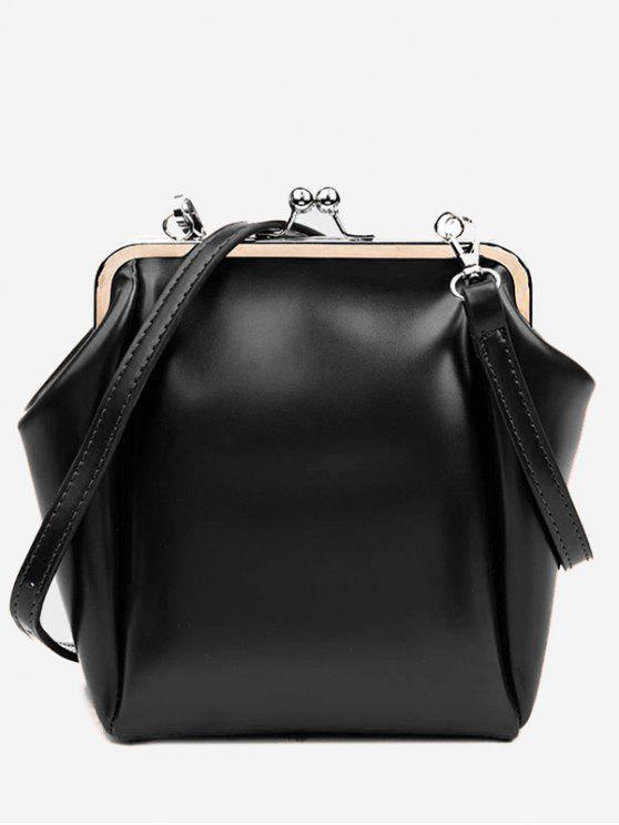 trendy Casual PU Leather Frame Bag - BLACK