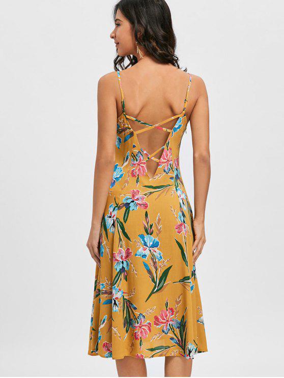 Cami Strap Floral Print Dress - Amarelo Gengibre 2XL