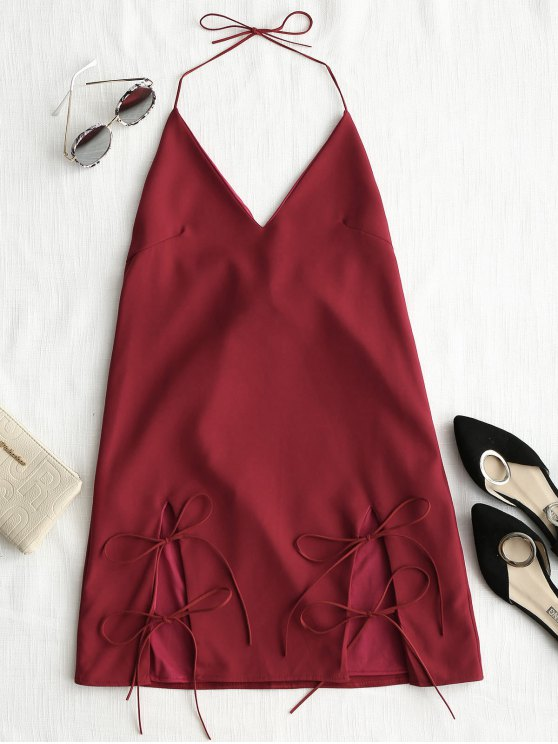 فستان كامي ذو فتحات ربطة - احمر غامق M
