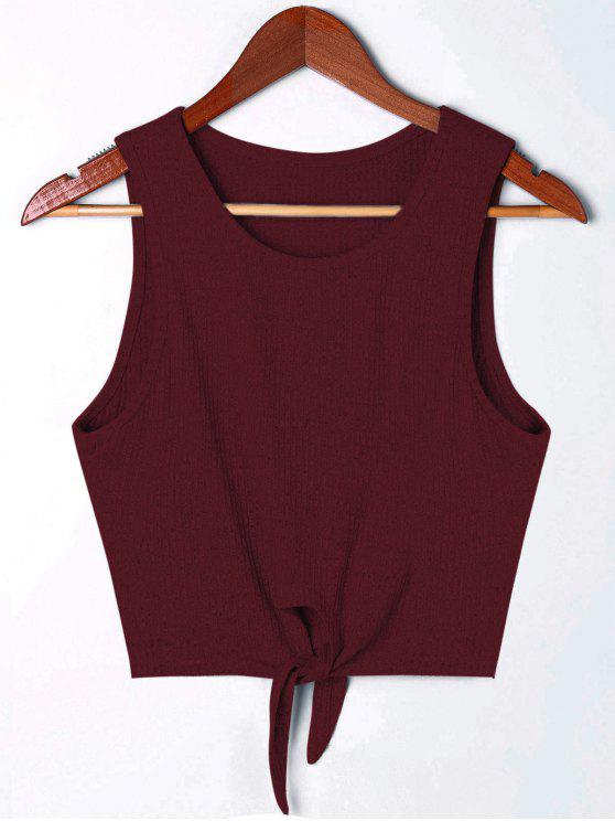 outfit Cropped Tie Front Rip Tank Top - WINE RED S