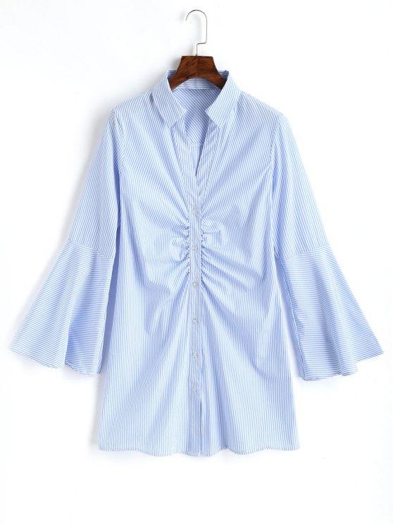 Camisa de manga de campana a rayas recolectada - Azul Claro L