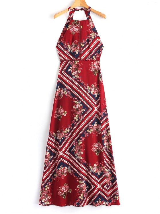 lady Backless Eyelet Slit Maxi Dress - DEEP RED S