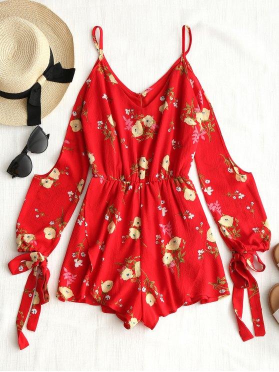 outfit Floral Overlay Cold Shoulder Romper - RED L