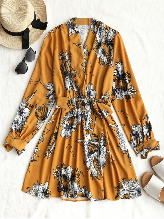 fancy Long Sleeve Floral Mini Dress - MUSTARD S