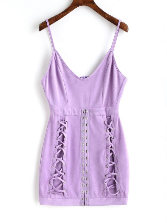 latest Faux Suede Lattice Mini Dress - PURPLE M