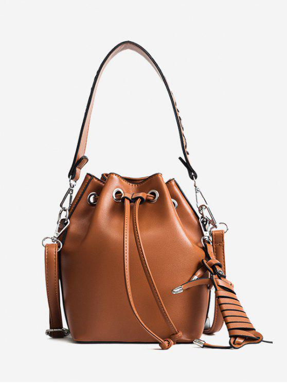 new Braid PU Leather Bucket Bag - BROWN