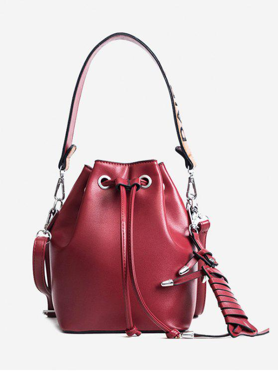 outfits Braid PU Leather Bucket Bag - RED